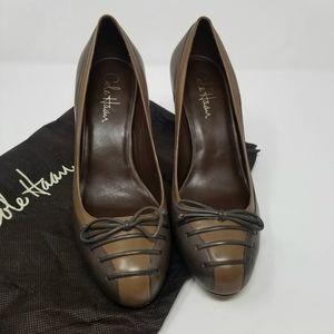 Cole Haan Brown NikeAir Lace Bow Cap Heels